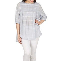 Apricot - Blue check swing top
