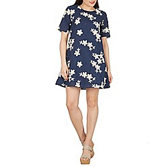 Apricot - Navy floral embroidered swing dress