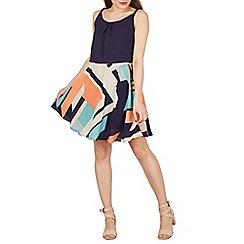 Apricot - Navy abstract stripe skirt dress