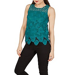 Apricot - Green floral lace top