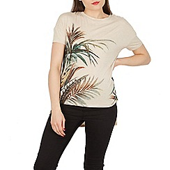 Apricot - Off white palm leaves print top