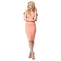 Jane Norman - Light peach tie sleeves bardot dress
