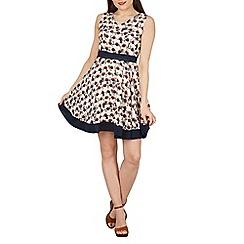 Tenki - Cream geo circle and leaf print skater dress