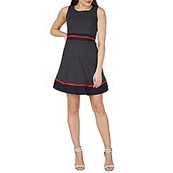 Tenki - Navy sleeveless polka dot t/b dress
