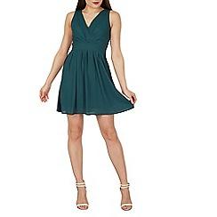 Tenki - Khaki v-neck sleeveless plain chiffon dress