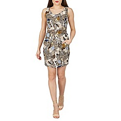 Tenki - Brown sleeveless patterned bodycon dress