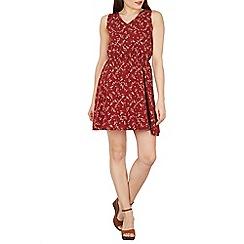 Tenki - Maroon sleeveless  V-neck flower print dress