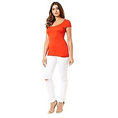 Jane Norman - Orange top essentials frill sleeves t-shirt