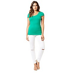 Jane Norman - Green top essentials frill sleeves t-shirt