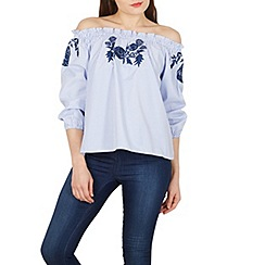Blue Vanilla - Blue striped embroidered off the shoulder top