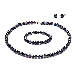 Kyoto Pearl - Multicoloured lustrous peacock freshwater pearls tri set