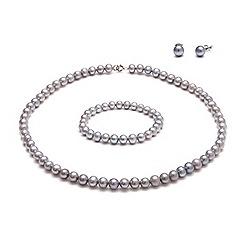 Kyoto Pearl - Grey freshwater pearls pearls set