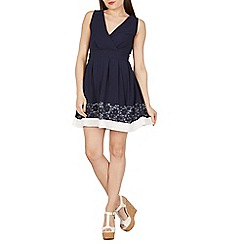 Apricot - Navy crossover structured dress