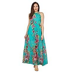 Blue Vanilla - Turquoise key hole neck  floral maxi dress