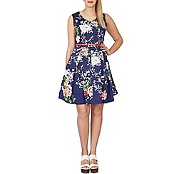 Samya - Navy floral print fit and flare dress