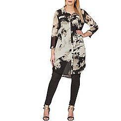 Samya - Black button up high-low hem shirt dress