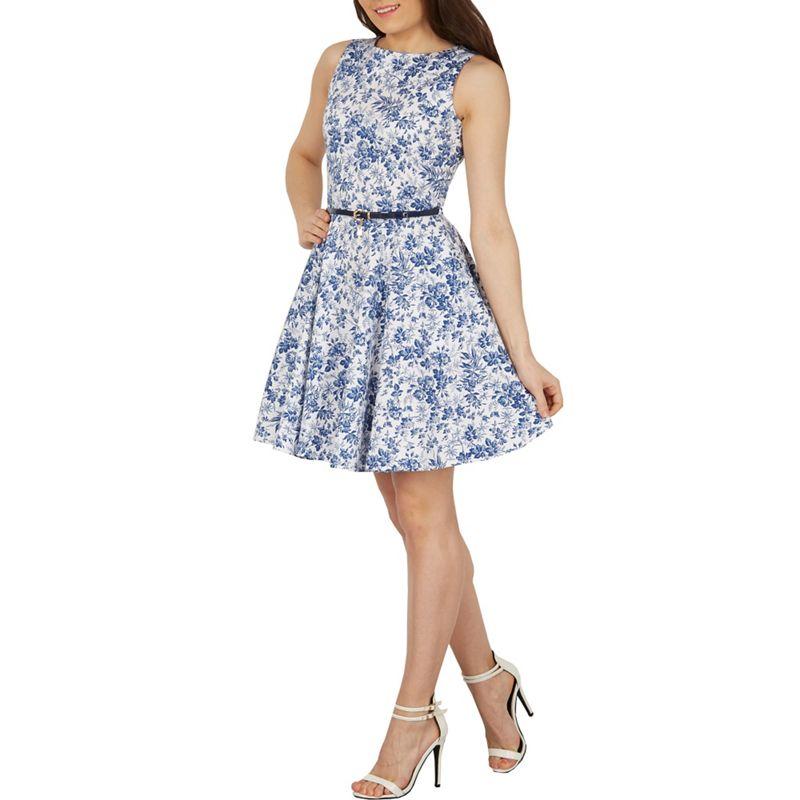 Izabel London Blue Floral Print Fit and Flare Dress,