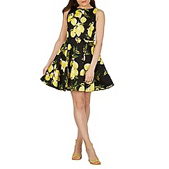 Izabel London - Black lemon print fit & flare dress