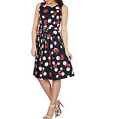 Izabel London - Navy polka dot fit & flare dress