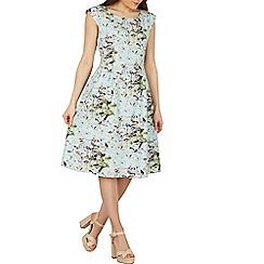 Izabel London - Green flamingo print fit & flare dress