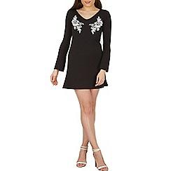 Izabel London - Black long sleeve embroidered shift dress