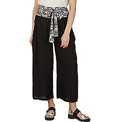 Izabel London - Black floral waist tie wide leg pants
