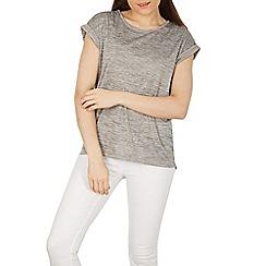 Izabel London - Grey marl knit top with dip back hemline
