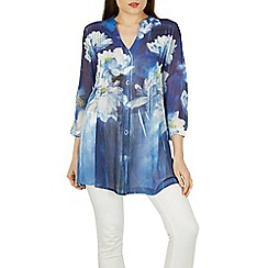Izabel London - Blue floral printed shirt top