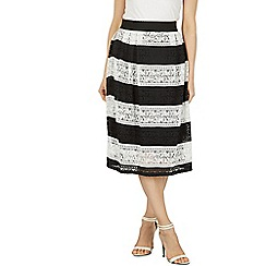Izabel London - Black striped lace mid skirt