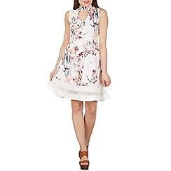 Izabel London - White choker style floral print skater dress