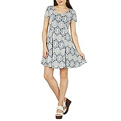 Izabel London - Navy printed swing style dress
