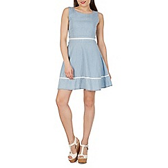 Izabel London - Blue polka dot stone wash dress