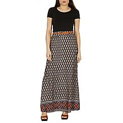 Izabel London - Multicoloured viscose print belted maxi skirt