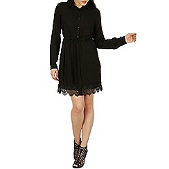 Izabel London - Black scallop trim shirt dress