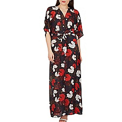 Izabel London - Navy bat wing floral print maxi dress