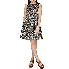 Izabel London - Navy abstract leaf print fit & flare dress