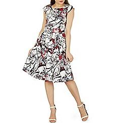 Izabel London - White oriental print fit & flare dress