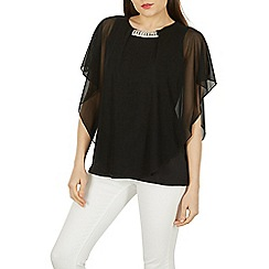 Izabel London - Black flowy sleeves embellished diamante top