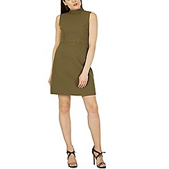 Izabel London - Khaki sleeveless belted detail dress
