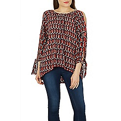 Izabel London - Multicoloured cold shoulder print blouse top
