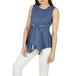 Izabel London - Blue sleeveless tie detail drape top