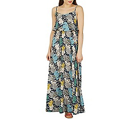 Izabel London - Navy leaf print layer top maxi dress