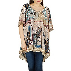 Izabel London - Beige paisley print tunic top