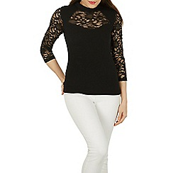 Izabel London - Black lace sleeves and insert top