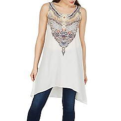 Izabel London - White aztec print sleeveless top