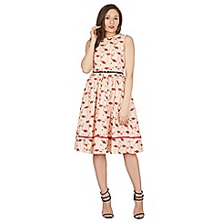 Lindy Bop - Pink Sammy flamingo print swing dress