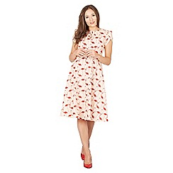 Lindy Bop - Pink Clarissa flamingo print swing dress