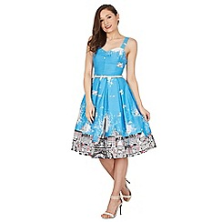 Lindy Bop - Blue Bernice Paris border swing dress
