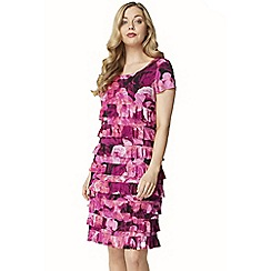 Roman Originals - Cerise rose print frill dress