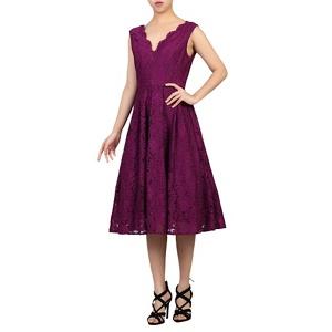 Plus Size Jolie Moi Dark Purple Scalloped V Neck Pleated Prom Dress